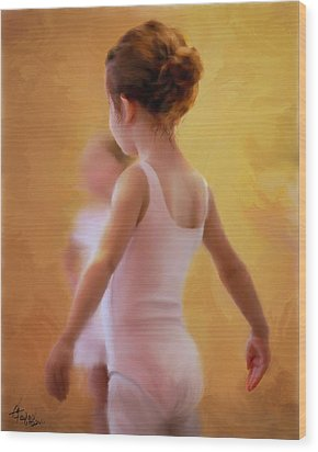 Ballerina In Pink Wood Print by Colleen Taylor