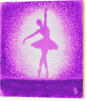 Wood Print featuring the painting Ballerina Purple And Pink by Bob Baker