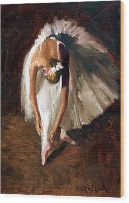 Ballerina With Pink Shoes Wood Print by Roelof Rossouw