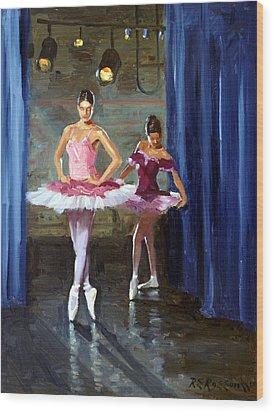 Ballerinas Backstage Wood Print by Roelof Rossouw