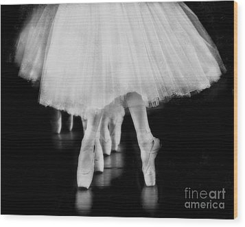 Ballet Black And White Wood Print by Kevin Moore