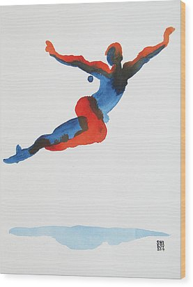 Wood Print featuring the painting Ballet Dancer 1 Flying by Shungaboy X