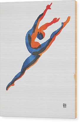 Ballet Dancer 2 Leaping Wood Print by Shungaboy X