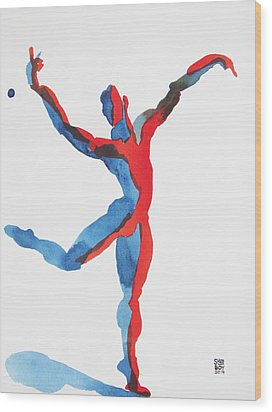 Wood Print featuring the painting Ballet Dancer 3 Gesturing by Shungaboy X
