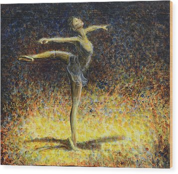 Wood Print featuring the painting Ballet by Nik Helbig