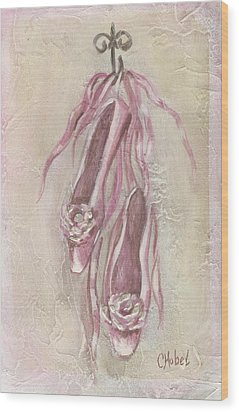 Ballet Shoes Painting Wood Print by Chris Hobel