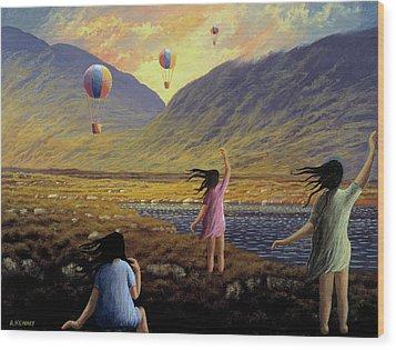 Balloon Children Wood Print by Alan Kenny
