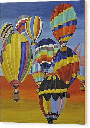 Balloon Expedition Wood Print by Donna Blossom