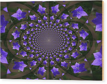 Balloon Flower Kaleidoscope Wood Print by Teresa Mucha