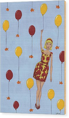 Balloon Girl Wood Print by Christy Beckwith