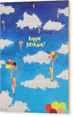 Balloon Girls Birthday Greeting Card Wood Print