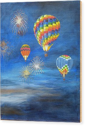 Balloon Glow Wood Print