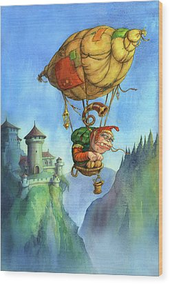 Balloon Ogre Wood Print by Andy Catling