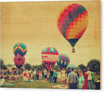 Balloon Rally Wood Print by Kathy Jennings