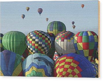Balloon Traffic Jam Wood Print by Marie Leslie