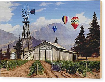 Balloons Over The Winery 1 Wood Print by Ron Chambers