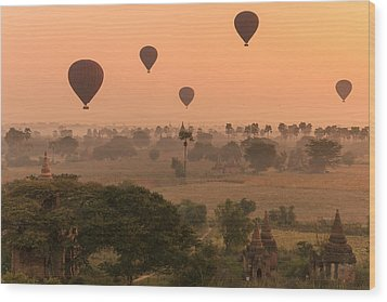 Balloons Sky Wood Print by Marji Lang