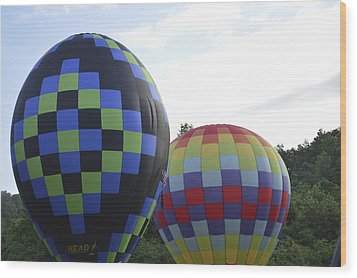 Wood Print featuring the photograph Balloons Waiting For The Weather To Clear by Linda Geiger