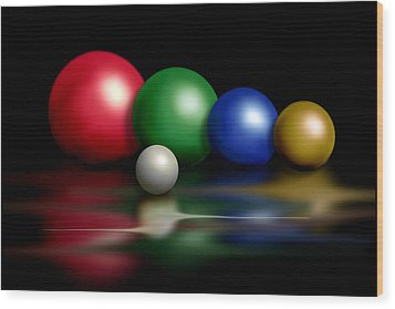 Balls On Black Wood Print by Judi Quelland
