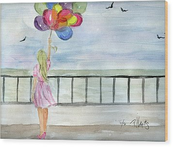 Wood Print featuring the painting Baloons by P J Lewis
