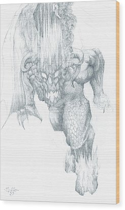 Balrog Sketch Wood Print