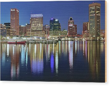 Baltimore Blue Hour Wood Print by Frozen in Time Fine Art Photography