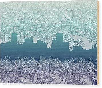 Wood Print featuring the painting Baltimore City Skyline Map 2 by Bekim Art