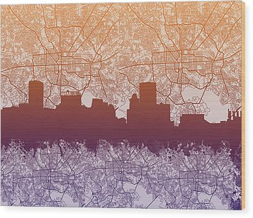 Wood Print featuring the painting Baltimore City Skyline Map by Bekim Art