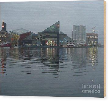 Baltimore Harbor Reflection Wood Print by Carol Groenen