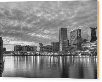 Baltimore In Black And White Wood Print by JC Findley