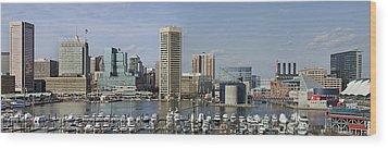 Baltimore Inner Harbor Panorama - Maryland Wood Print by Brendan Reals