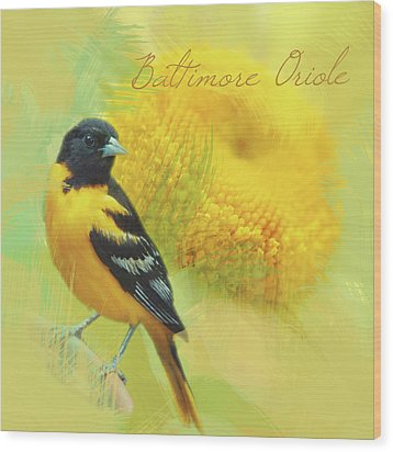 Wood Print featuring the photograph Baltimore Oriole Watercolor Photo by Heidi Hermes