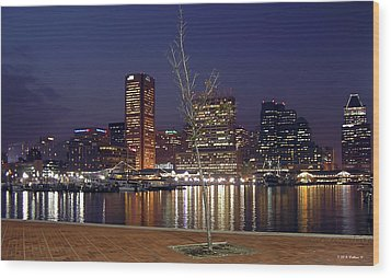 Wood Print featuring the photograph Baltimore Reflections by Brian Wallace