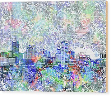 Wood Print featuring the painting Baltimore Skyline Watercolor 10 by Bekim Art