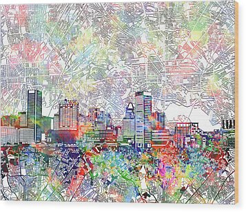 Wood Print featuring the painting Baltimore Skyline Watercolor 11 by Bekim Art