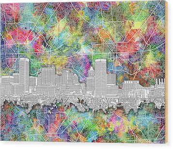 Wood Print featuring the painting Baltimore Skyline Watercolor 12 by Bekim Art