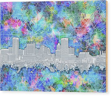 Wood Print featuring the painting Baltimore Skyline Watercolor 14 by Bekim Art
