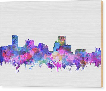 Wood Print featuring the painting Baltimore Skyline Watercolor 4 by Bekim Art
