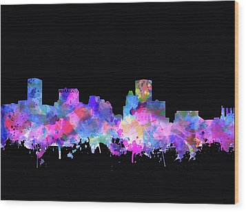 Wood Print featuring the painting Baltimore Skyline Watercolor 5 by Bekim Art
