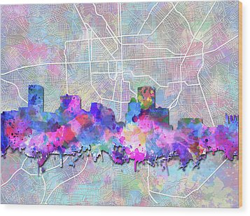 Wood Print featuring the painting Baltimore Skyline Watercolor 6 by Bekim Art