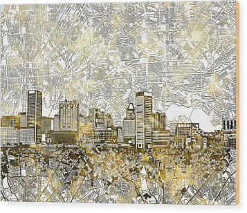 Wood Print featuring the painting Baltimore Skyline Watercolor 8 by Bekim Art