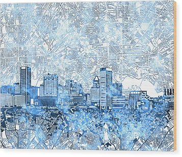 Wood Print featuring the painting Baltimore Skyline Watercolor 9 by Bekim Art