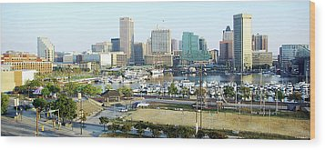 Wood Print featuring the photograph Baltimore's Inner Harbor by Brian Wallace