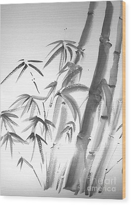 Wood Print featuring the painting Bamboo 2 by Sibby S