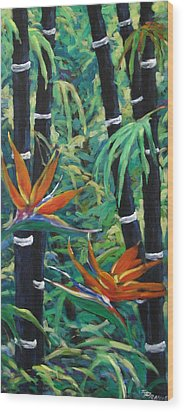 Bamboo And Birds Of Paradise Wood Print by Richard T Pranke