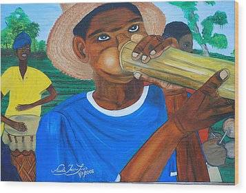 Wood Print featuring the painting Bamboo Blower In Haiti Rara Festival by Nicole Jean-Louis