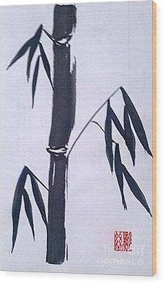 Bamboo In Black And White Wood Print