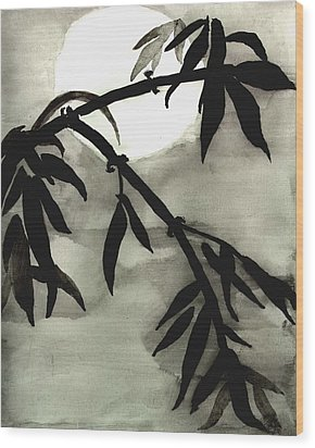 Bamboo In Moonlight - Watercolor Painting Wood Print