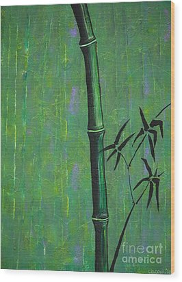 Wood Print featuring the painting Bamboo by Jacqueline Athmann
