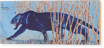 Bamboo Panther Wood Print by Larry  Johnson